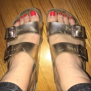 Rose Gold Birkenstock Sandals